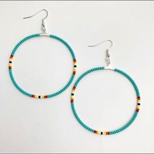 NWT Beaded Hoop Earrings